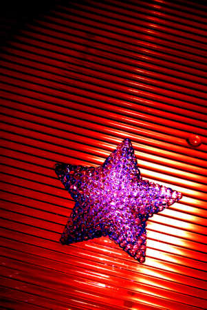 stripped: Red crystal star with stripped background