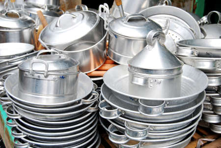 cooking ware: Indonesian traditional cooking ware made from aluminum Stock Photo