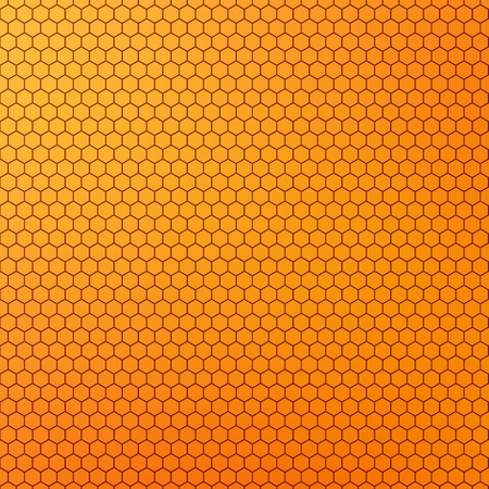 Yellow orange colored honeycomb design abstract background.