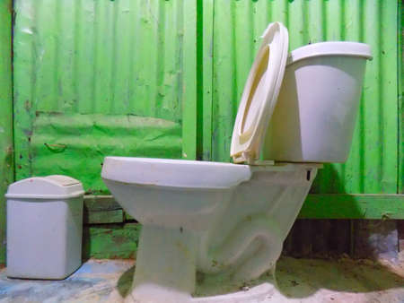 latrine: toilet with the lid up and paper bin