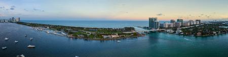 マイアミ ホーローバー パークと米国フロリダ州バルハーバーの空撮 写真素材