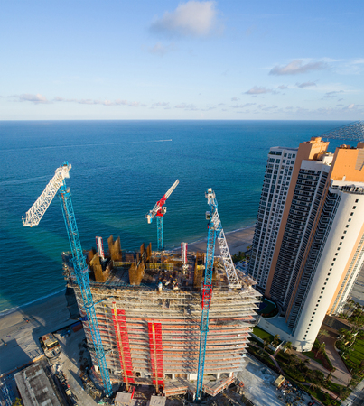 Aerial image of Residences under construction Sunny Isles Beach FL USA