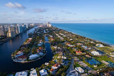 Aeial drone shot of Golden Beach FL USA