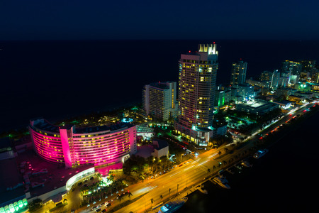 Aerial image of the Fontainebleau Hotel Miami Beach at night