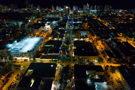 Aerial night photo of LIncoln Road Miami Beach FL