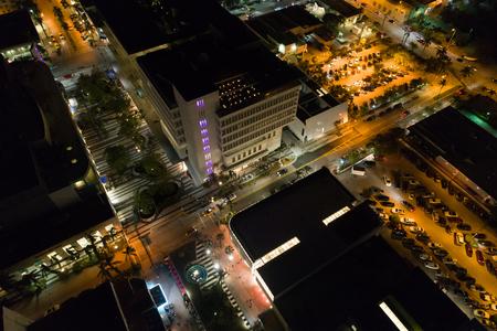 Stock night aerial image Lincoln Road Miami Beach FL Stok Fotoğraf