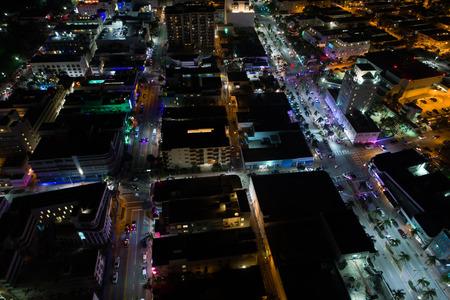 Aerial photo of South Beach Miami Florida at night