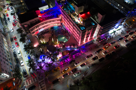 Aerial photo of the famous Clevelander hotel ocean Drive Miami Beach