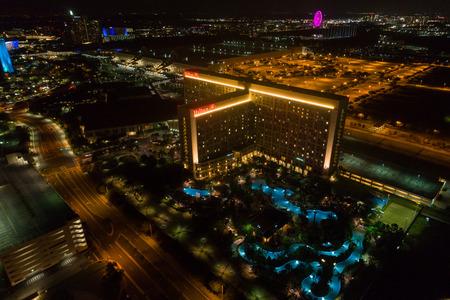 Aerial night photo of the Hilton Resort Orlando FL USA