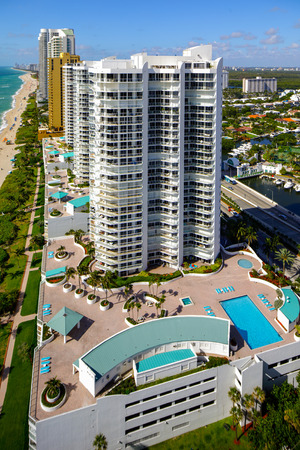 Aerial photo of the Oceania Towers on the Beach Sunny Isles FL, USA