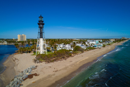Drone shot of the Hillsboro Lighthouse Stok Fotoğraf