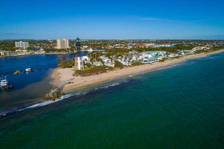 Aerial drone image of the Hillsboro inlet lighthouse Pompano Beach FL