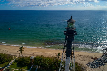 Aerial drone image of the Hillsboro inlet lighthouse Pompano Beach