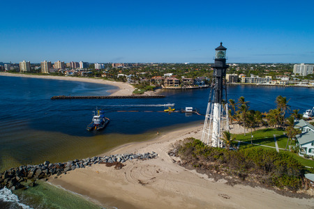 Aerial photo of the Hillsboro historical lighthouse