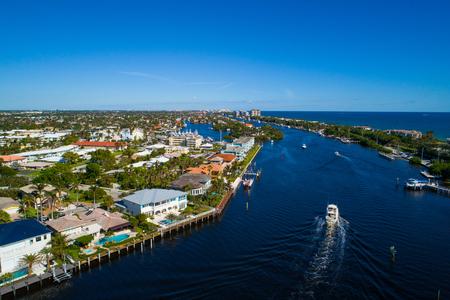 waterfront property: Aerial shot of Hillsboro Florida USA