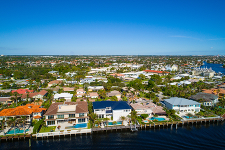 Aerial drone photo of luxury mansions Hillsboro Florida USA Foto de archivo