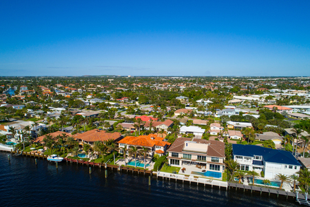 Aerial image of mansions on the water Hillsboro Florida