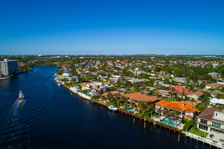 Aerial drone image of luxury waterfront real estate in Hillsboro Florida