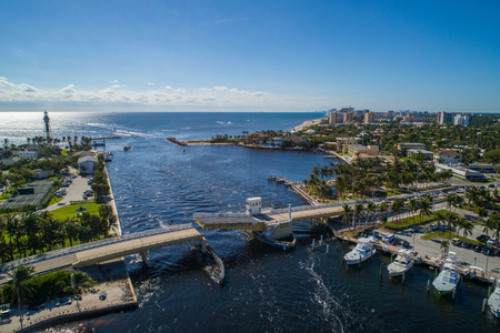 Aerial drone image of the Hillsboro inlet lighthouse and Bridge Pompano Beach FL