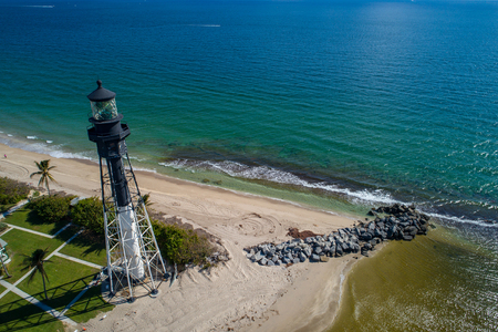 Aerial image of the Hillsboro beach inlet lighthouse