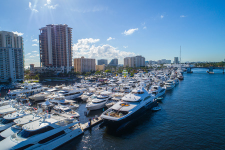 Aerial drone image of the 2017 fort lauderdale boat show Stock fotó - 89386705