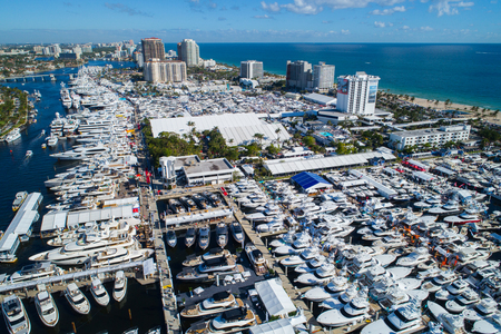 Aerial shot of the 2017 Fort Lauderdale Beach boat show