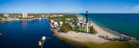 Aerial drone image of the Hillsboro inlet lighthouse Pompano Beach Florida