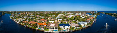 Aerial image of luxury waterfront homes in Hillsboro Florida