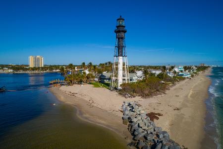 Aerial photo of the Hillsboro historical lighthouse