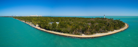 Aerial photo of Bill Baggs State park and lighthouse scenic landscape