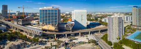 Aerial drone photo of the Downtown Miami Central Station Brightline platform under construction