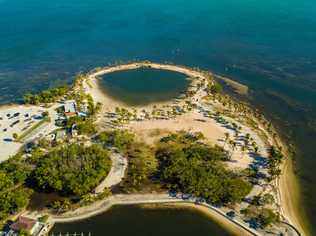 Aerial drone image of the Round Beach in Coral Gables Florida USA Stok Fotoğraf