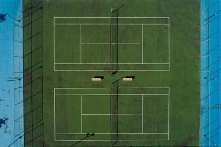 Aerial image of a tennis court Stok Fotoğraf