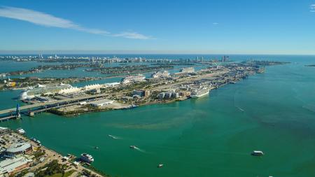 Aerial drone shot of Port Miami Florida USA Foto de archivo