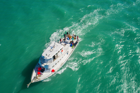 Aeial drone image of a fishing boat at sea