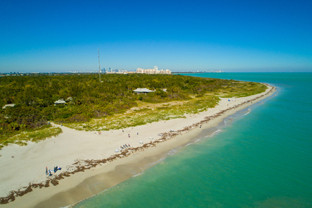 Aerial image of a beach on Key Biscayne Miami FL Stok Fotoğraf