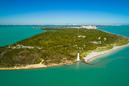 Aerial image of the Cape Florida lighthouse Bill Baggs Park Stok Fotoğraf