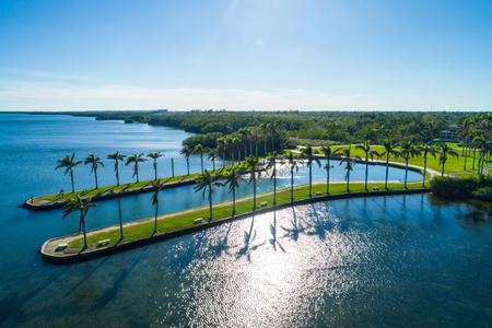 Aerial image of Deering Estate Miami Florida Biscayne Bay Stok Fotoğraf