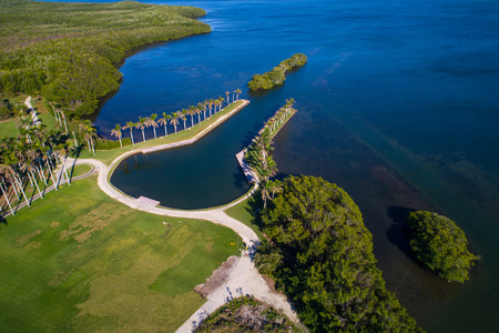 Drone photo of Deering Estate Miami FL bay landscape