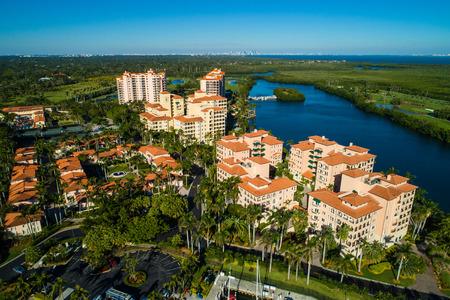 Aerial image of waterfront luxury condominiums in Miami Florida Stok Fotoğraf