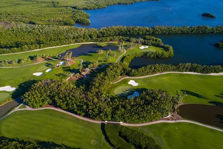 Aerial golf course landscape image