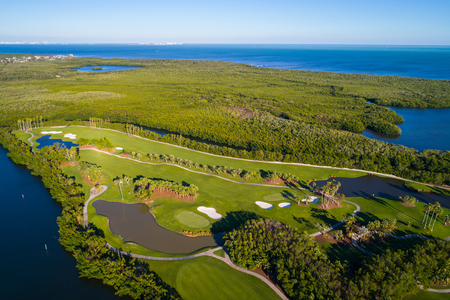 Ariel drone photography golf course landscape