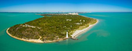 Aerial panoramic image of the Cape Florida Lighthouse El Farito