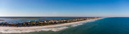 Aerial panorama Crescent Beach Florida coastline vacation homes