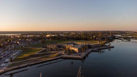 Castillo De San Marcos fort St Augustine Florida aerial photo at sunset