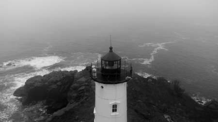 Black and white photo of the Nubble Lighthouse Maine USA