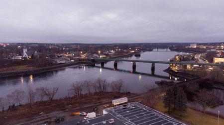 Aerial photo river in Bangor Maine USA
