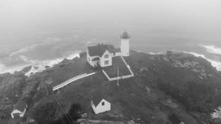 Aerial photo of the iconic Nubble Lighthouse York Maine USA black and white