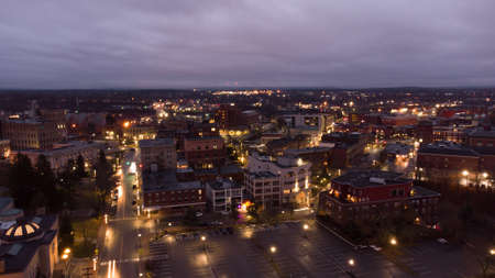 Aerial photo Bangor Maine at night twilight colors