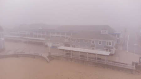 Hampton Beach NH USA winter fog